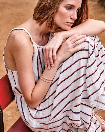 anillo de plata de diseño para mujer con barras paralelas, regalar anillo de plata para mujer