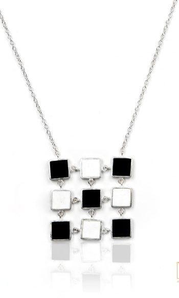 collares de plata para mujer, collar de plata cuadrado, joyeria etica