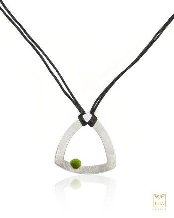 collar de plata y oro para mujer, collar de plata y oro para regalo, regalar collar de plata con esmalte verde