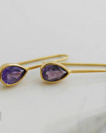 comprar pendientes largos de mujer, regalar pendientes de oro con amatista, pendientes de amatista para mujer, joyasmarket