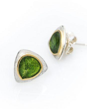pendientes de botón de plata, pendientes de plata con esmalte verde