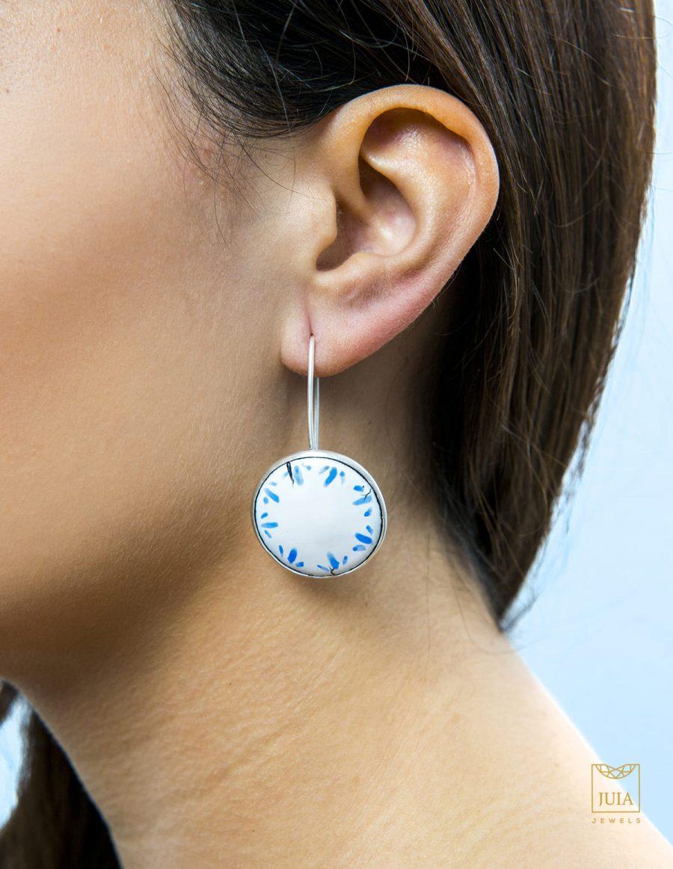 pendientes de plata para mujer, pendientes de plata fairmined, pendientes de plata con esmaltes al fuego, pendientes de plata azules