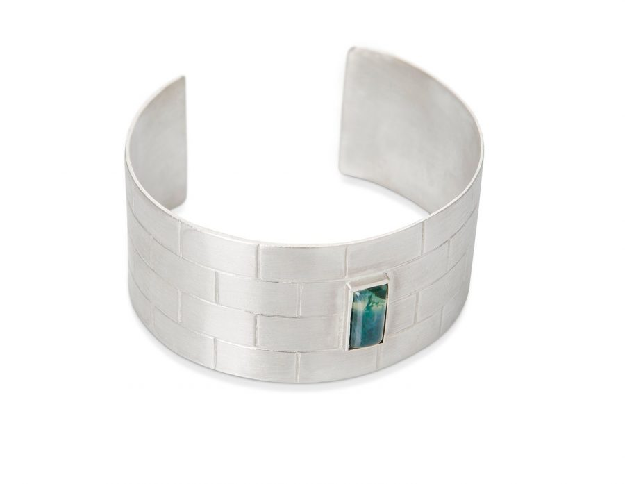 pulsera de plata para mujer con agata musgosa, regalar pulsera de plata para mujer