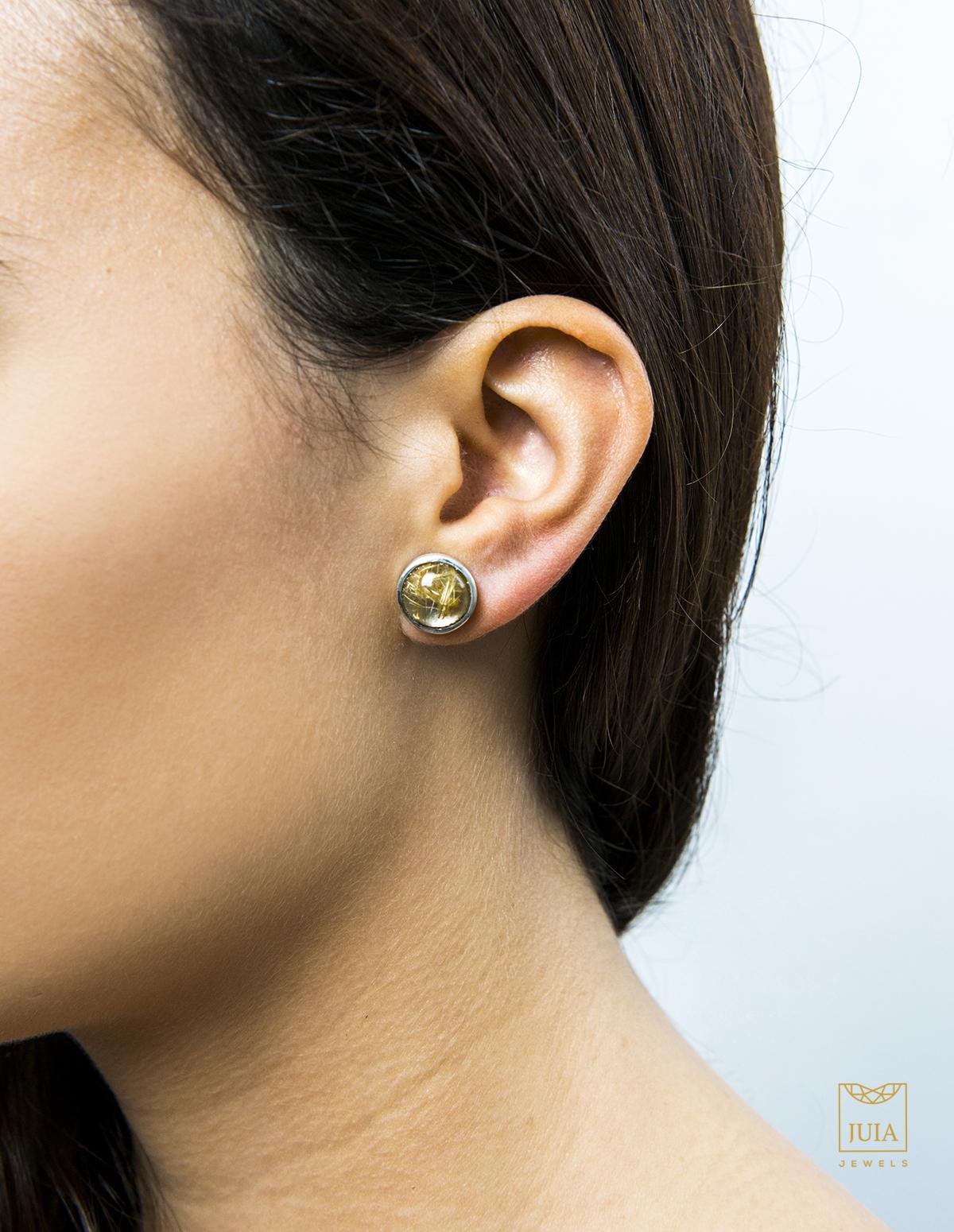 pendientes de plata y oro con cuarzos para mujer, juia jewels barcelona, comprar pendientes de botón de plata, joyeria etica, fairmined, joyasmarket