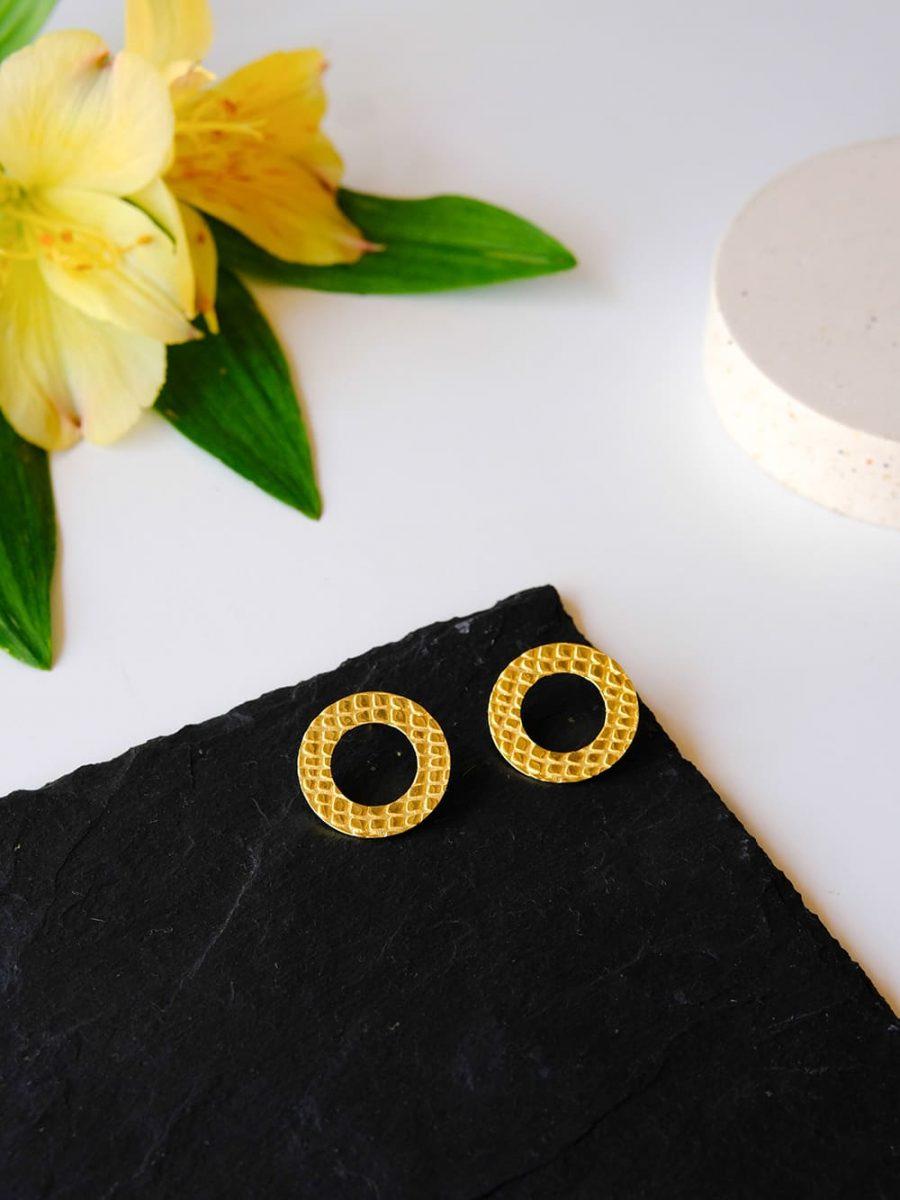 pendientes de circulo de cocodrilo, pendientes de cocodrilo de oro, pendientes de diseño