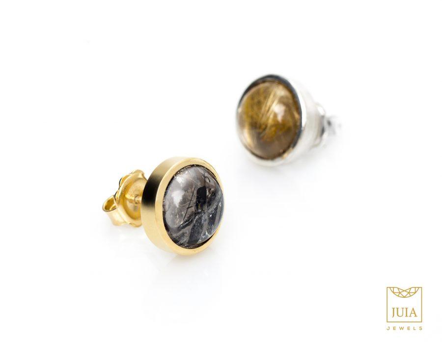 pendientes de botón de plata y oro amarillo de 24k, regalar pendientes para mujer