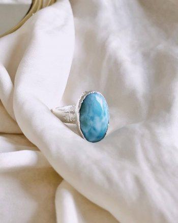 anillos piedras larimar mujer