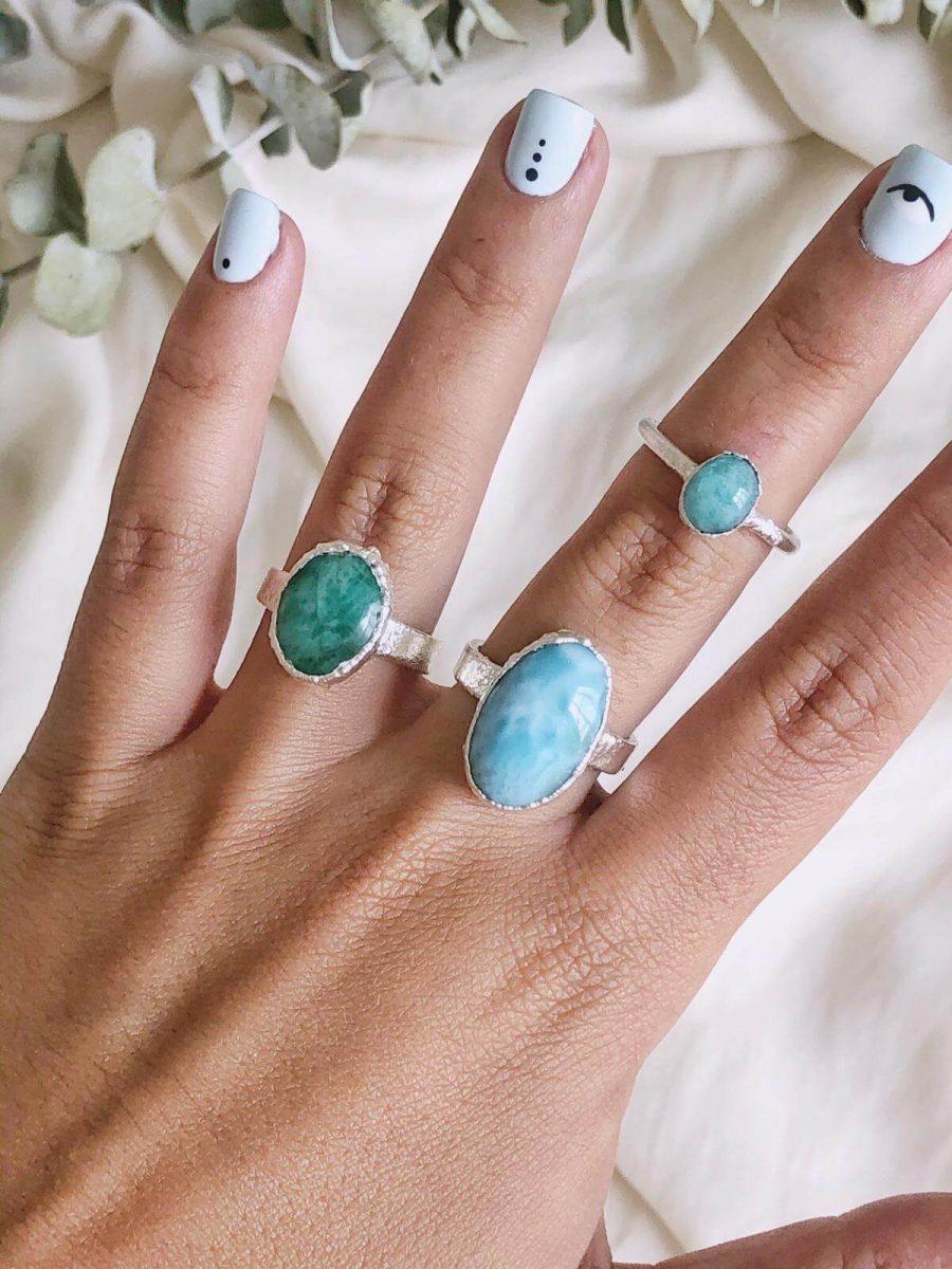 anillo de plata con amazonita para mujer