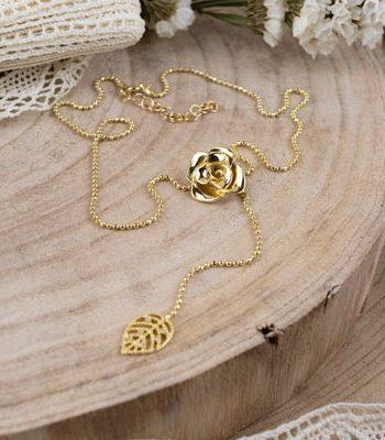 collar de oro con rosas, regalar collar san valentin