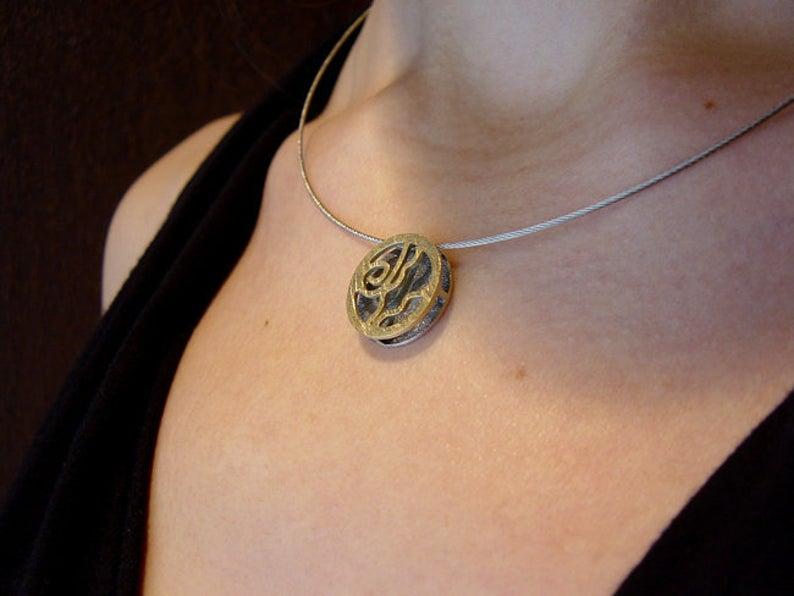 colgante de plata y oro para mujer, regalar colgante de plata y oro