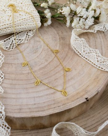 collar de oro con hojas de rosa, collar para mujer, gargantilla de oro para mujer