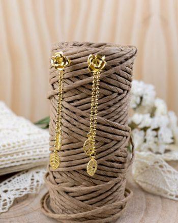 pendientes largos de oro con rosas, comprar pendientes largos para fiesta