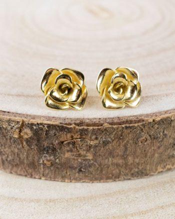pendientes de oro amarillo para boda, regalar pendientes de oro de rosas, pendientes de rosas