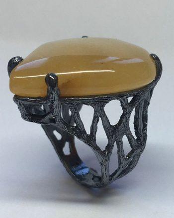 anillo en plata óxido con aventurina para mujer