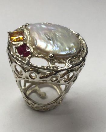 anillo de plata para mujer con perla grande en pieza única