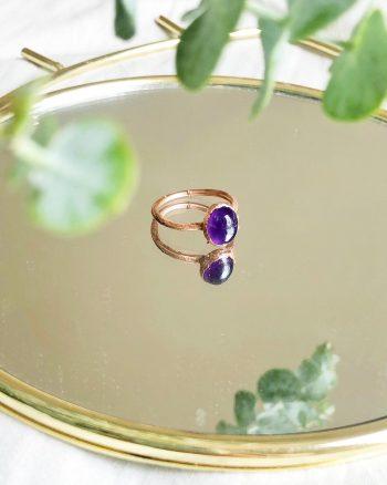 anillo con amatista, anillo para mujer con piedra amatista