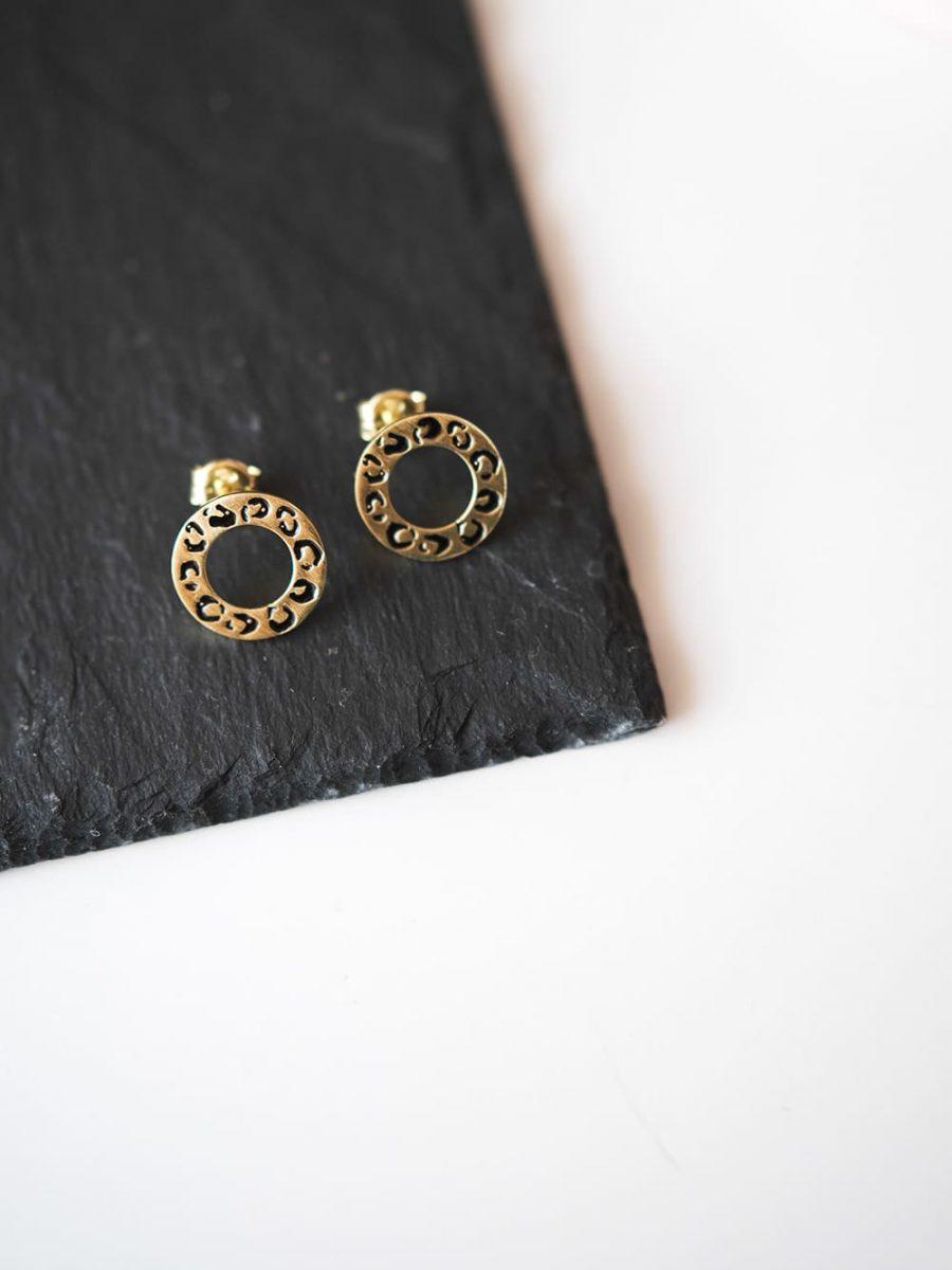 pendientes animal print, pendientes leopardo, pendientes circulo oro
