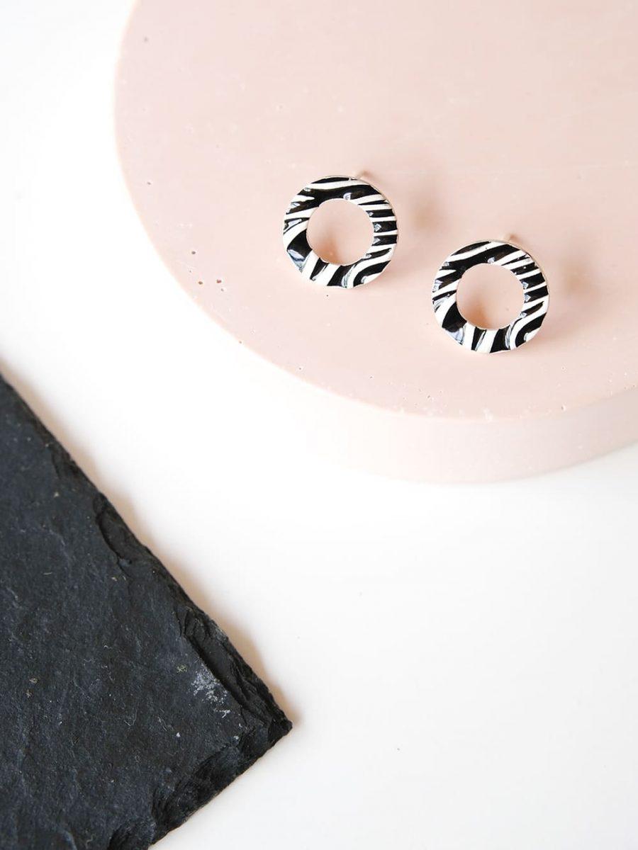 pendientes animal print cebra, pendientes de plata con cebra, pendientes de plata animal print, pendientes de mujer con estampado cebra