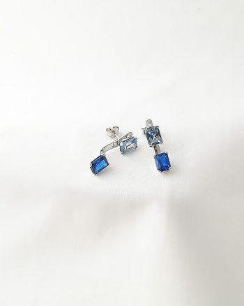 pendientes con circonitas azules, pendientes con piedras azules, pendientes de plata con piedras azules